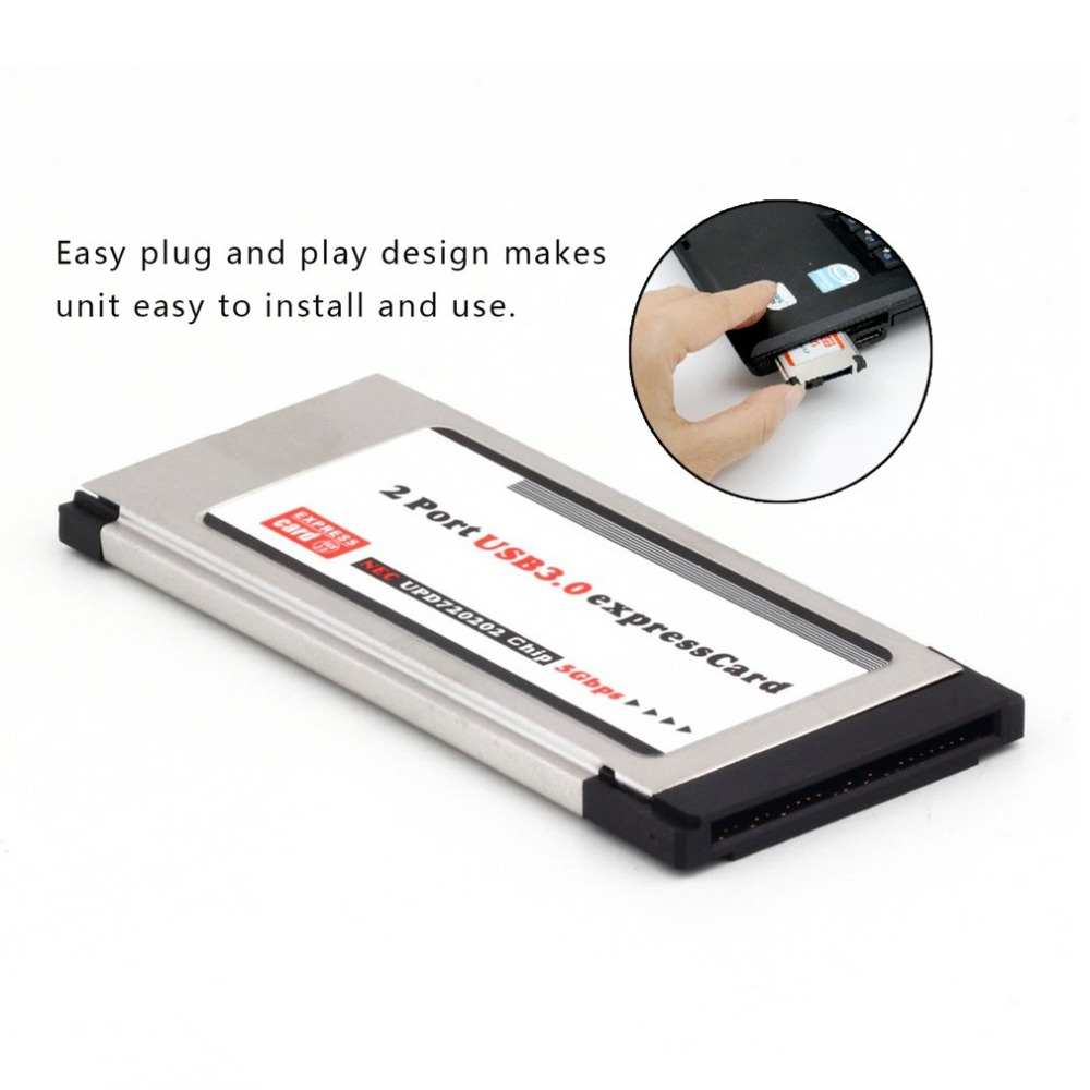 High Full Speed Express Card Expresscard To USB 3.0 2 Port Adapter 34 Mm Express Card Converter 5Gbps Transfer Rate