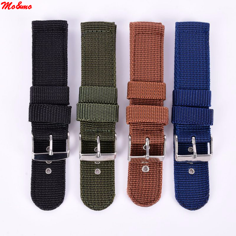 купить Military Army Nylon Fabric Canva Wrist Watch Band Strap 18/20/22/24mm 4Color Banda de reloj de nylon по цене 71.66 рублей