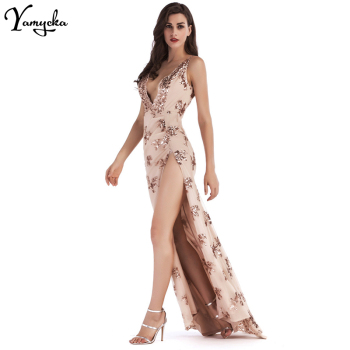 Sexy Deep V Neck Sequin Summer Dress women Evening Backless Luxury Night club Party Dresses Elegant Sling Long Maxi Dress 2020 1