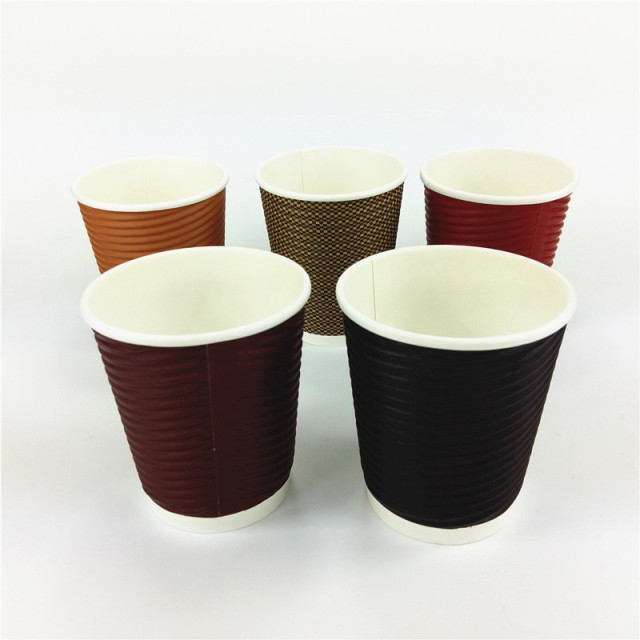 1000pcs 10oz Kraft Brown Ripple Wall Disposable Paper Coffee Cups Black 5