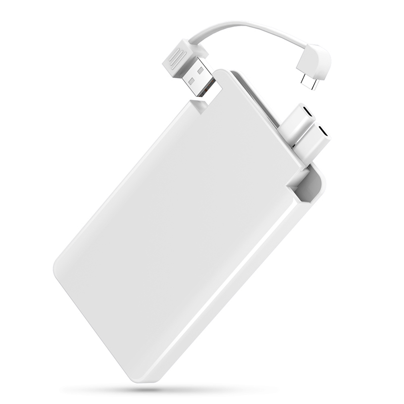 Yfw power bank 6000mah portable charger poverbank built in for Usb c portable charger