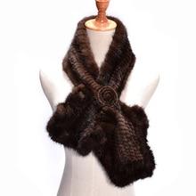 2017 Новый меховой шарф из натуральной норки с цветком зимний шарф и шаль спицами Мех Элегантный российских женщин натуральным мехом шарф Зимний