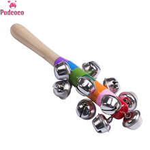 2018 New Toddler Infant Newborn Baby Kid Rainbow Pram Crib Handle Wooden Bell Stick Shaker Rattle Toy Baby Gift(China)