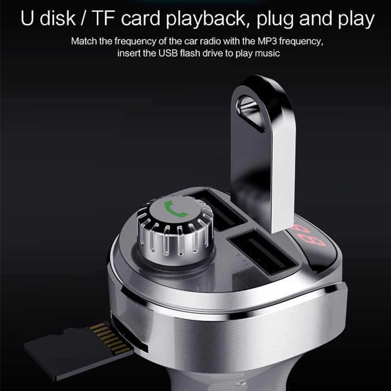 LINGCHEN cargador de coche Bluetooth coche transmisor FM manos libres MP3 reproductor de Audio de detección de tensión Dual USB 2 puerto USB de carga rápida