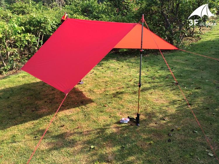 Image 3 - 3F UL Gear Ultralight Tarp Lightweight MINI Sun Shelter Camping Mat Tent Footprint 20D Nylon Silicone 195g Tenda Para Carro-in Sun Shelter from Sports & Entertainment