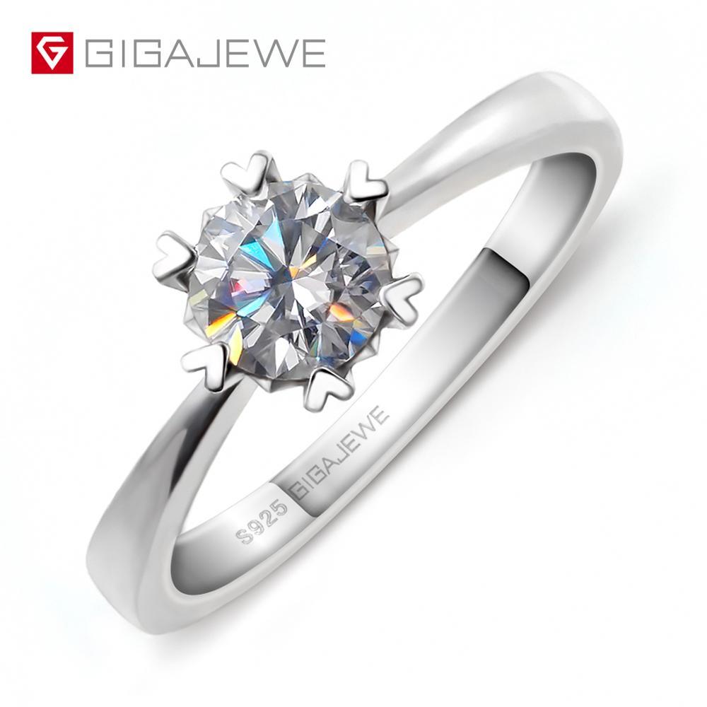 GIGAJEWE Moissanite Ring 0 8ct 6mm Round Cut VVS F Color Lab Diamond 925 Silver Jewelry