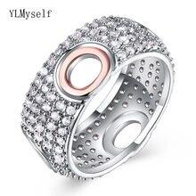 Новый дизайн двухцветное кольцо с полностью хрустальными камнями