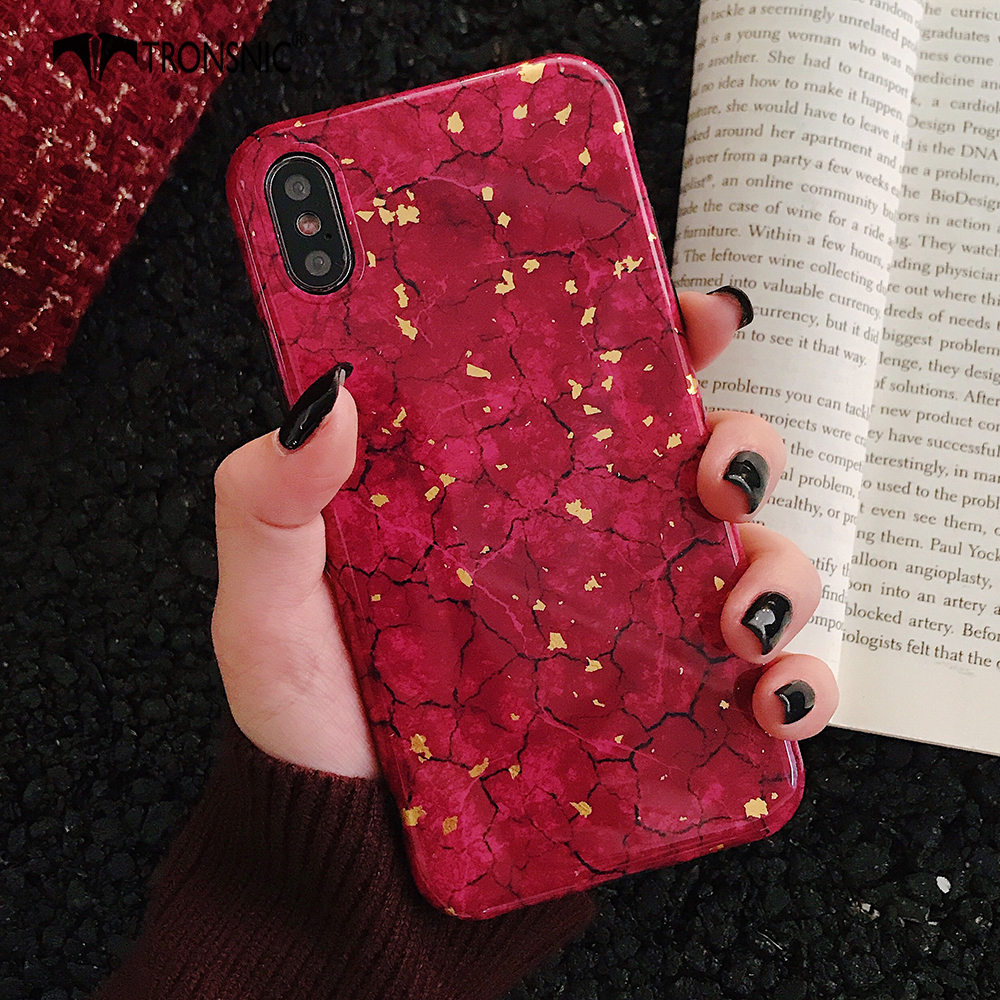 TRONSNIC Glitter Phone Case for iPhone X XS MAX XR Green Purple Case for iPhone 6S 6 7 8 Plus Gold Foil Red Luxury Cover Fashion