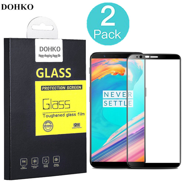 2 PACK DOHKO For OnePlus 5T Tempered Glass 0.26mm 2.5D Full Cover Screen Protector For OnePlus5T Prime 6.01 inch