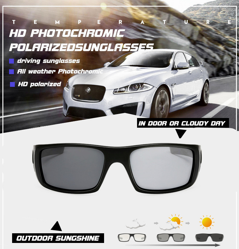 Photochromic Polarized Sunglasses Men Car Driving Goggles Sun Glasses