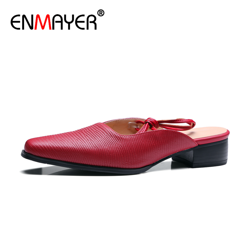 ENMAYER Sexy Slingback Slip-on Butterfly-knot Pointed Toe Low Heels Flats Party Genuine Leather Shoes Woman Summer Women Flats enmayer pointed toe summer shallow flats slip on luxury brand shoes women plus size 35 46 beige black flats shoe womens