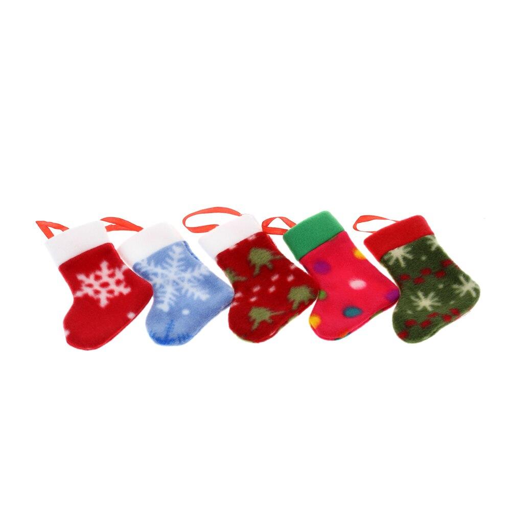 5PCS Christmas Stockings Decoration Supply Xmas Hanging Stockings ...