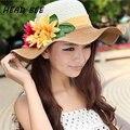 2017 mujeres de la Manera Plegable Grande Ancho Brim Ladies'Cap Playa Floral Sun Caps Floppy Sombrero de Paja Sombreros de Verano para Mujeres