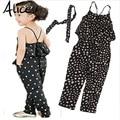 2017 девушки Комбинезон одежда дети Девушки жгут форме сердца кусок комплект одежды лета малышей Комбинезон одежда