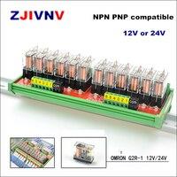 Canais 24 1 SPDT DIN Rail Mount OMRON G2R 12 V 24 V DC Módulo de Relé de Interface PNP NPN compatível
