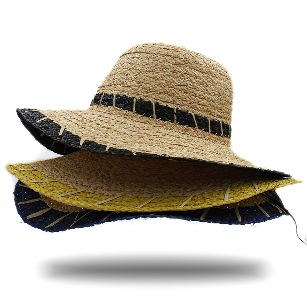 Women Natural Raffia Straw Bucket Hat For Queen Wide Brim Dome Seaside Sun  Hat Elegant Lady Fedora Cap Sunbonnet Beach Hats 45-in Bucket Hats from  Apparel ... f30271559a83