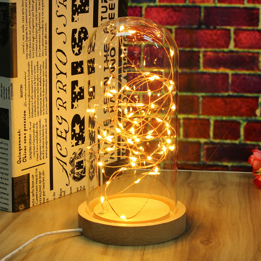 Novelty Lamp Base : Novelty Glass LED Night Light Table Lamp Desk Light Decoration Wooden Base Bedroom Sleep Light ...