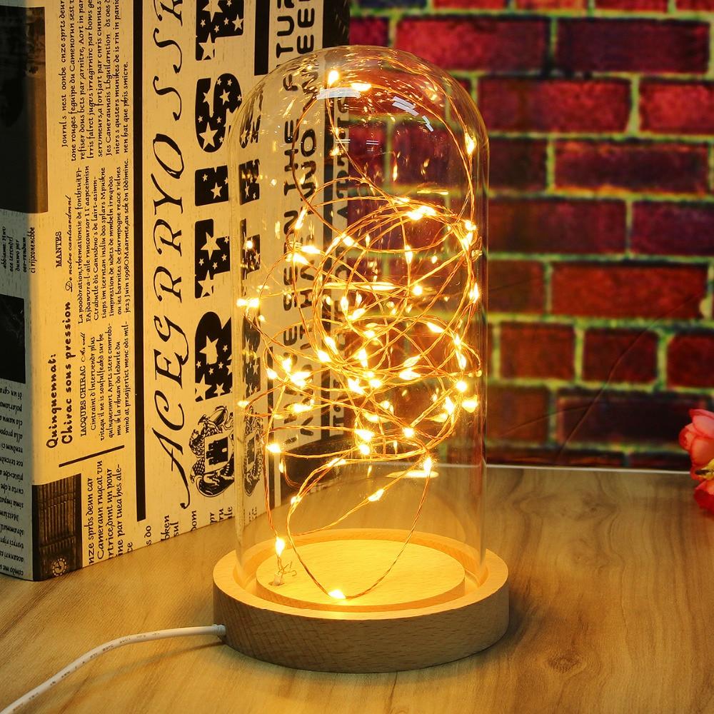 novelty glass led night light table lamp desk light decoration wooden base bedroom sleep light. Black Bedroom Furniture Sets. Home Design Ideas