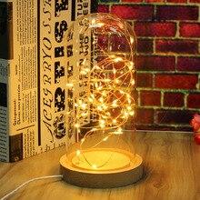 Novelty Glass LED Night Light Table Lamp Desk Light Decoration Wooden Base Bedroom Sleep Light Christmas Xmas New Year