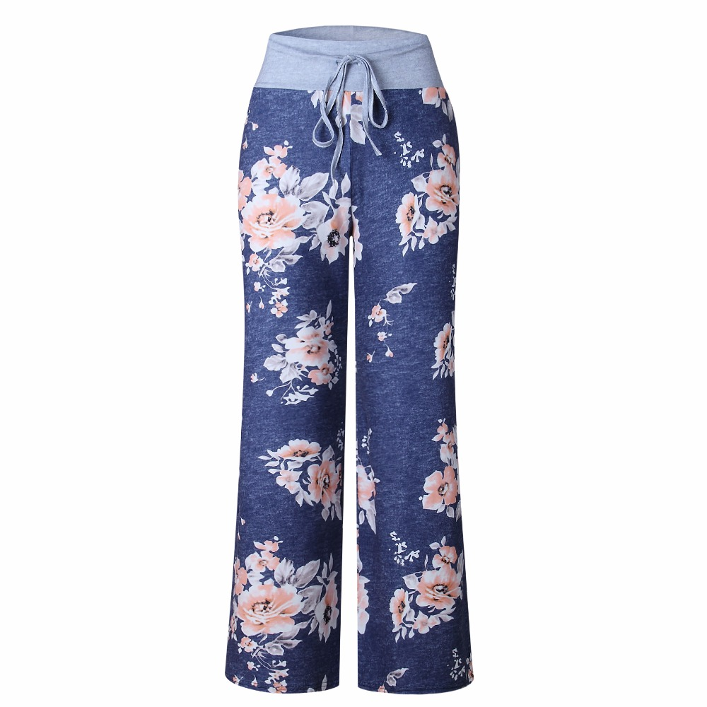 Causal Women New Summer Flower Print   Pants   2019 Drawstring   Wide     Leg     Pants   Loose Straight Trousers Long Female Plus Size Trousers