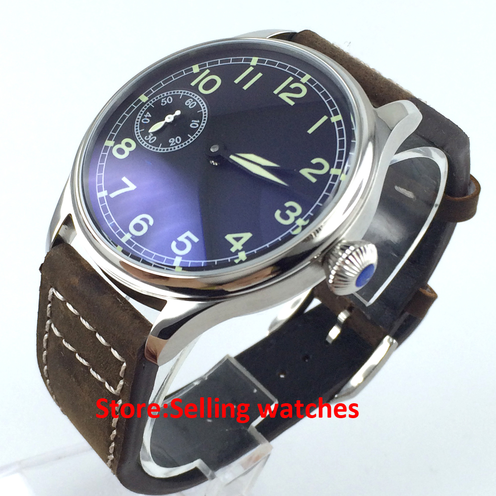 parnis 44mm 3600 unitas 6497 manual hand winding mens watch 44mm black sterile dial green marks relojes 6497 mens mechanical hand winding watch luminous armbanduhr cm164bk