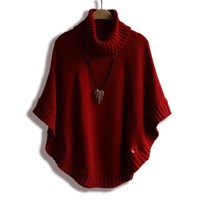 Womens Capes And Ponchoes 2015 New Arrival Women Shawl Cape Coat Bat Sleeve Turtleneck Sweater Autumn