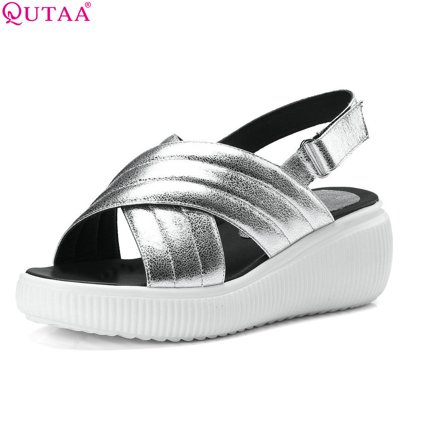 QUTAA 2018 Women Sandals Sheep Skin Fashion Women Shoes Platform Slip on Wedges Heel Round Toe Women Sandals Size 34-42 bohemia plus size 34 41 new fashion wedges sandals slip on elastic band casual platform shoes woman summer lady shoes shallow