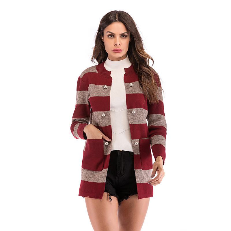YYFS New Fashion Single Breasted Side Pockets With Closed Button Autumn Jacket Women Coat Knitting Stripe