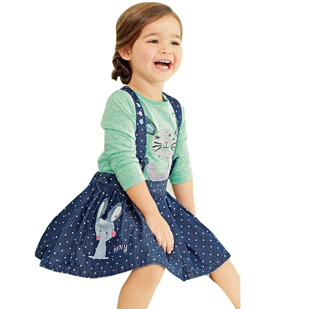BS#S 2016 Hot Sale Baby Summer Children Girls Dress Kids Clothes Sets Rabbit Overalls Dresses Casual Denim Clothing Suits retail 2014 2pc baby girls kids rabbit tops dot denim overalls dresses outfit clothes children s clothing set suits