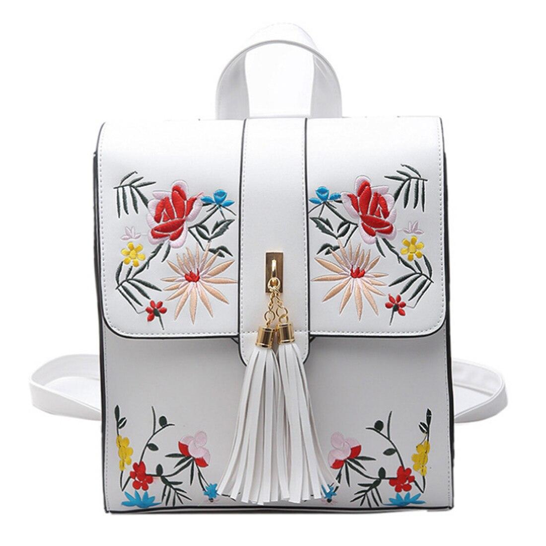YEJIA FASHION White Embroidery Backpack Tassel Sweet Women Bag Elegant Summer PU Backpacks Women Casual Travel