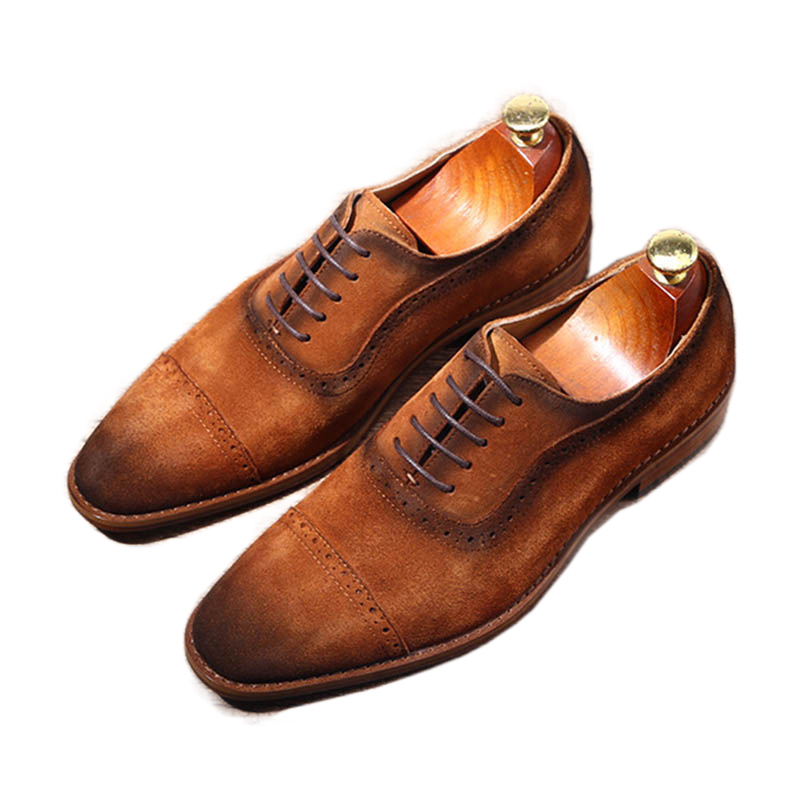Hand-stitched Cowhide Genuine Leather Men Shoes Pointed Toe Suede Dress Shoes Men Brown Lace-u[ Business Chaussures Hommeses