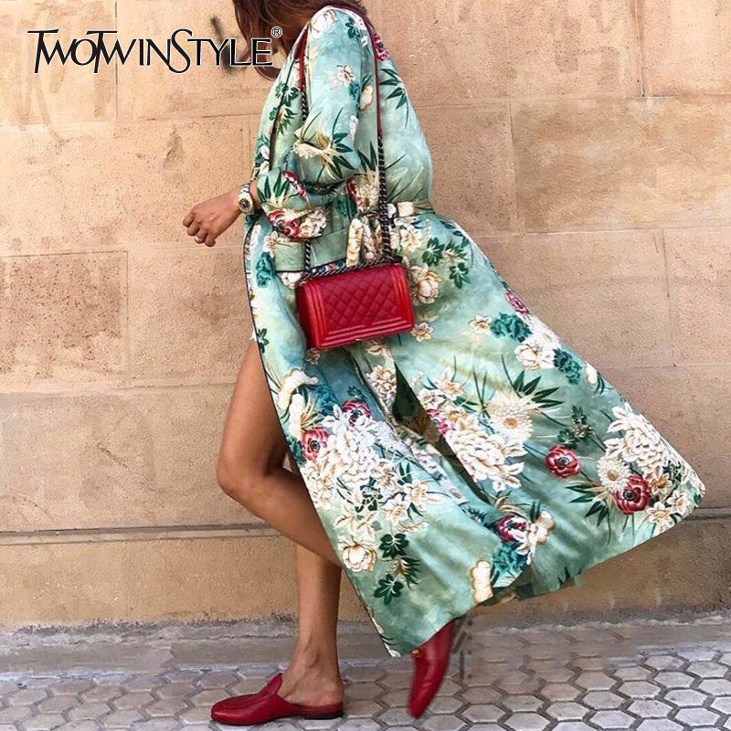 TWOTWINSTYLE Print Windbreaker Female V Neck Lace Up High Waist Pocket Long Trench Coats 2018 Spring Fashion Large Size Clothes