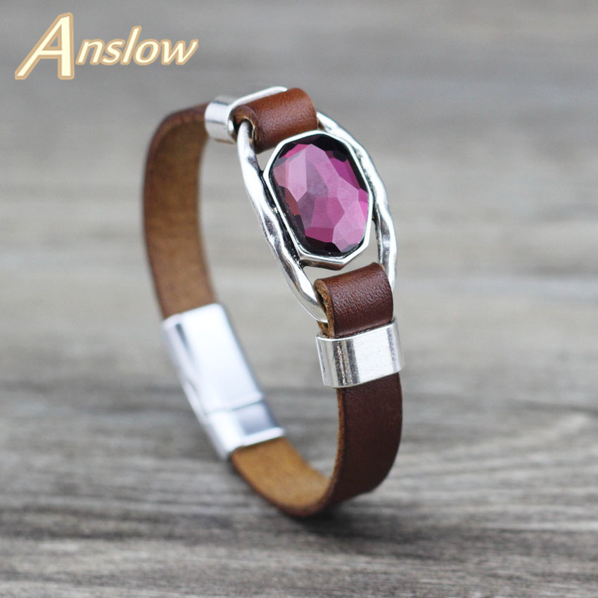 Женский браслет из натуральной кожи Anslow, фирменный креативный дизайн, ювелирное изделие с кристаллами, подарок для женщин, LOW0717LB