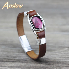 Anslow Brand Top Quality Creative Design Fashion Jewelry Crystal Genuine Leather Bracelet For Women Lady Female Gift LOW0717LB