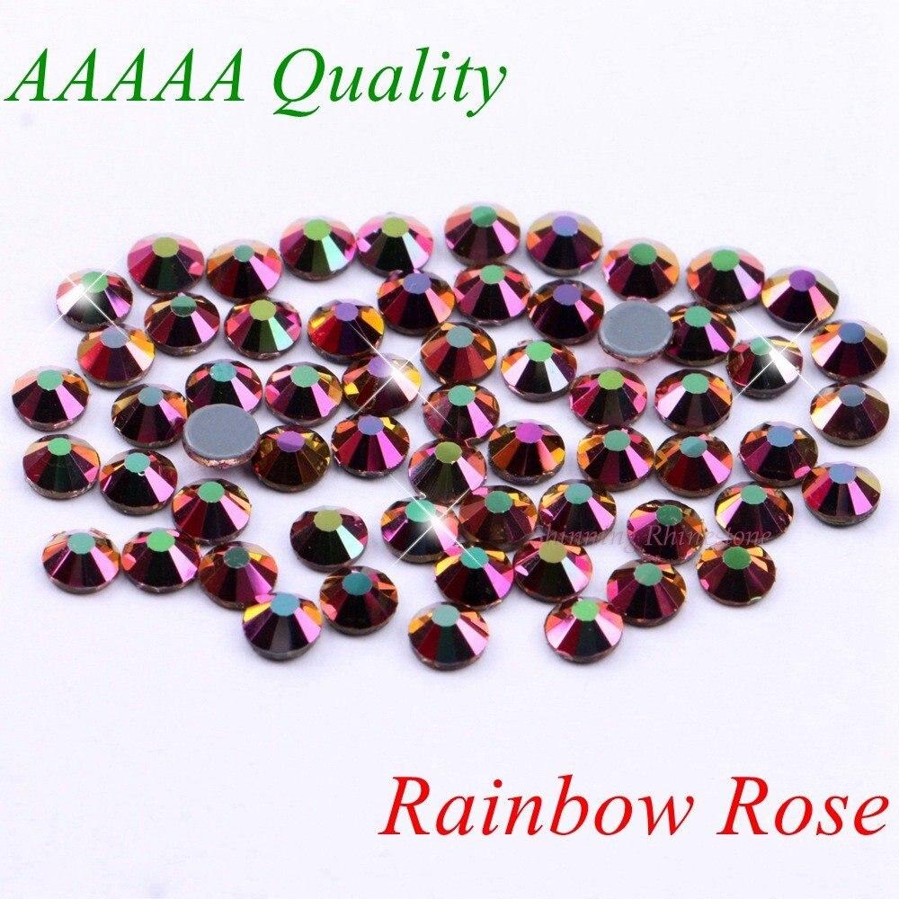 AAAAA Luxury Hotfix Rhinestone Rainbow Rose SS6 SS10 SS16 SS20 SS30 Glass Crystals Flatback Iron On Diamond