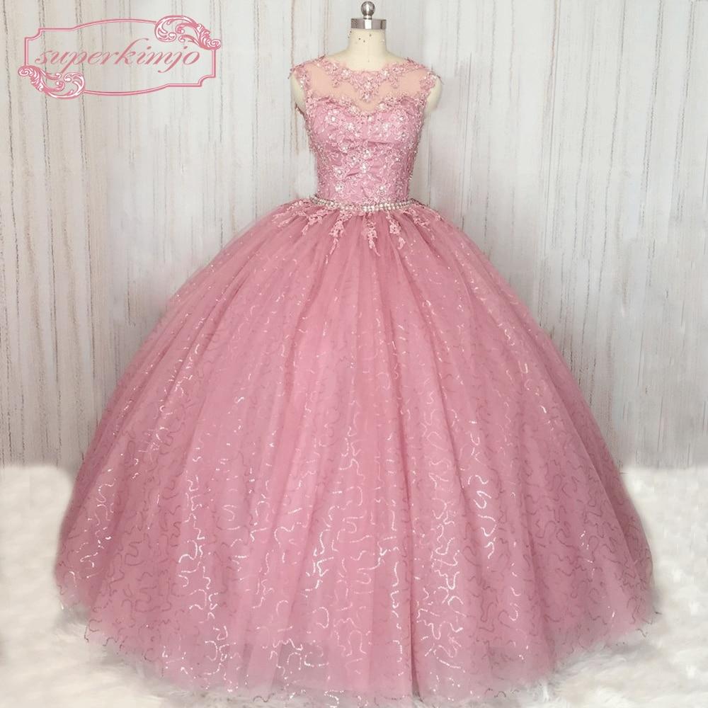 SuperKimJo Destacável Saia vestido de Baile vestido de Baile Lace Applique Sparkly Rosa Empoeirado Vestido de Baile Vestido De Festa De Longo
