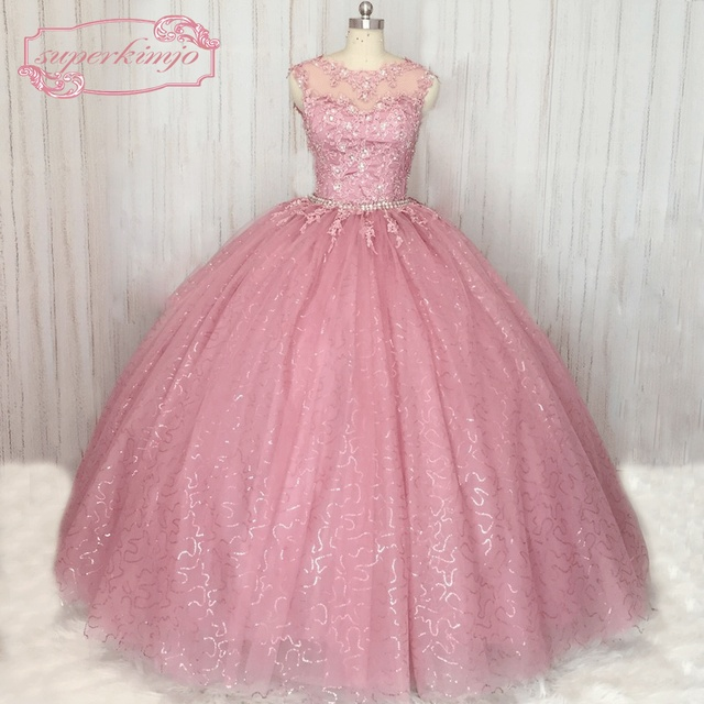 Superkimjo Detachable Skirt Prom Ball Gown Lace Applique Sparkly