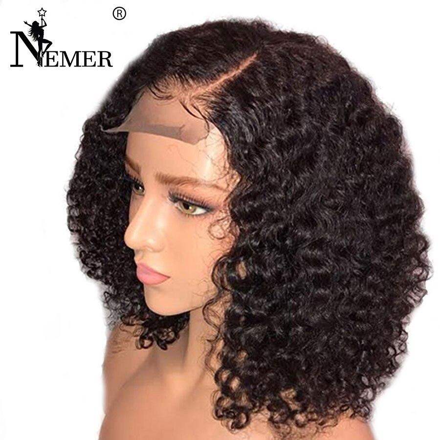 Glueless 150% плотность вьющиеся боб полный шнурок человеческих волос парики предварительно сорвал натуральных волос с ребенком волос для черны...