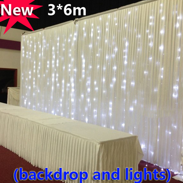 Free Shipping 3 6m White Ice Silk Wedding Backdrop Curtain With Led Lights For Decoration Lighted