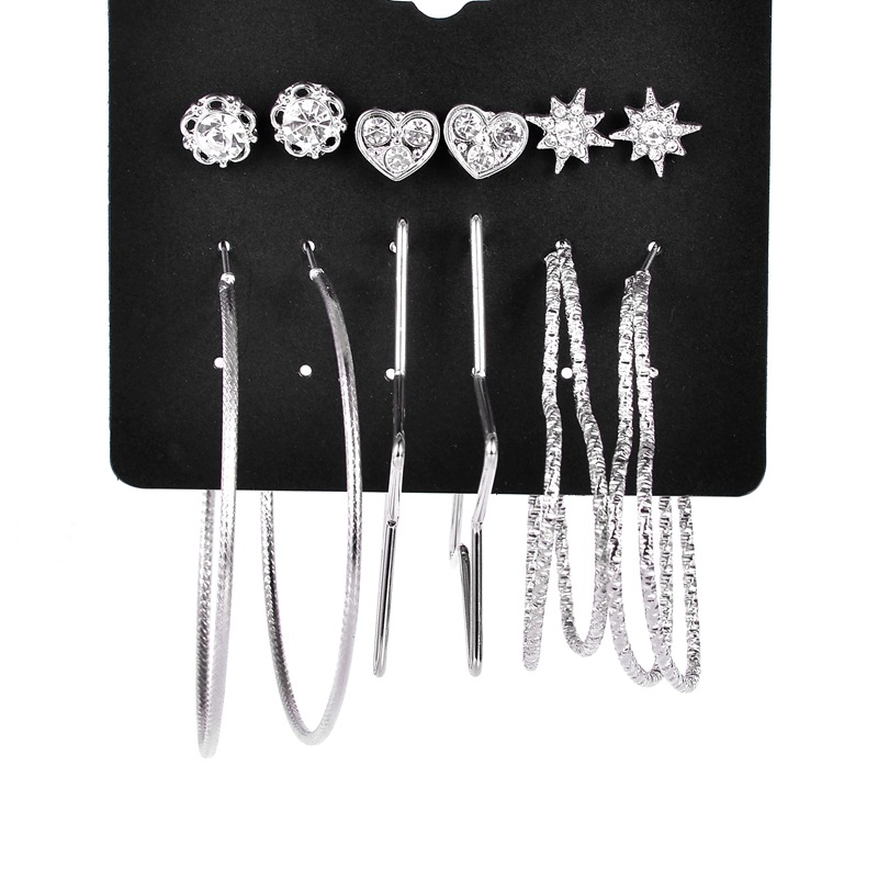 Europe and the United States creative womens earrings new 6 pairs of plate alloy heart-s ...