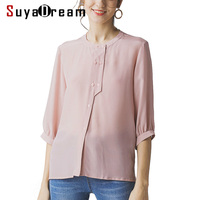 Women Silk T Shirt 100%Silk Crepe Solid Pink T shirt Half Sleeved O neck Silk Top 2019 New Summer Shirt