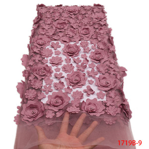 Image 2 - Fashion African Lace Fabric High Quality 3D Flower Fabric Embroidery with Beads French Tulle Net Lace for Wedding Dress APW1719B