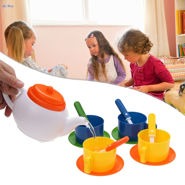 Lovely 13 Pieces/ Set Children Kids Pretend Play Kitchen Set Baby Tea Coffee  Dishes Cup Spoon