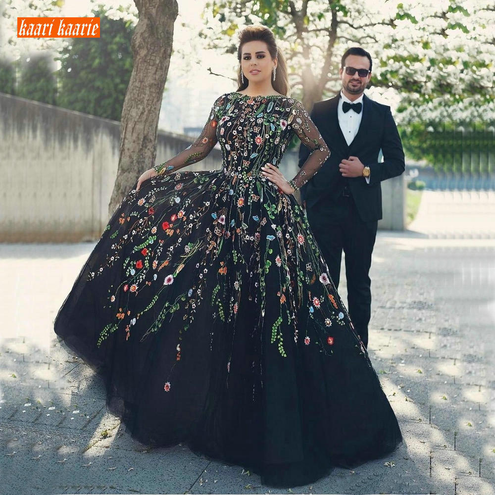 Elegant Black Embroidery Evening Dress Long Sleeve Formal Dresses 2019 Plus Size Evening Gown V Back Celebrity Pageant Gowns New