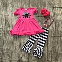 Kids Fall Winter Halloween Party Clothing Baby Girls Hot Pink With Spider Print Top With Stripes