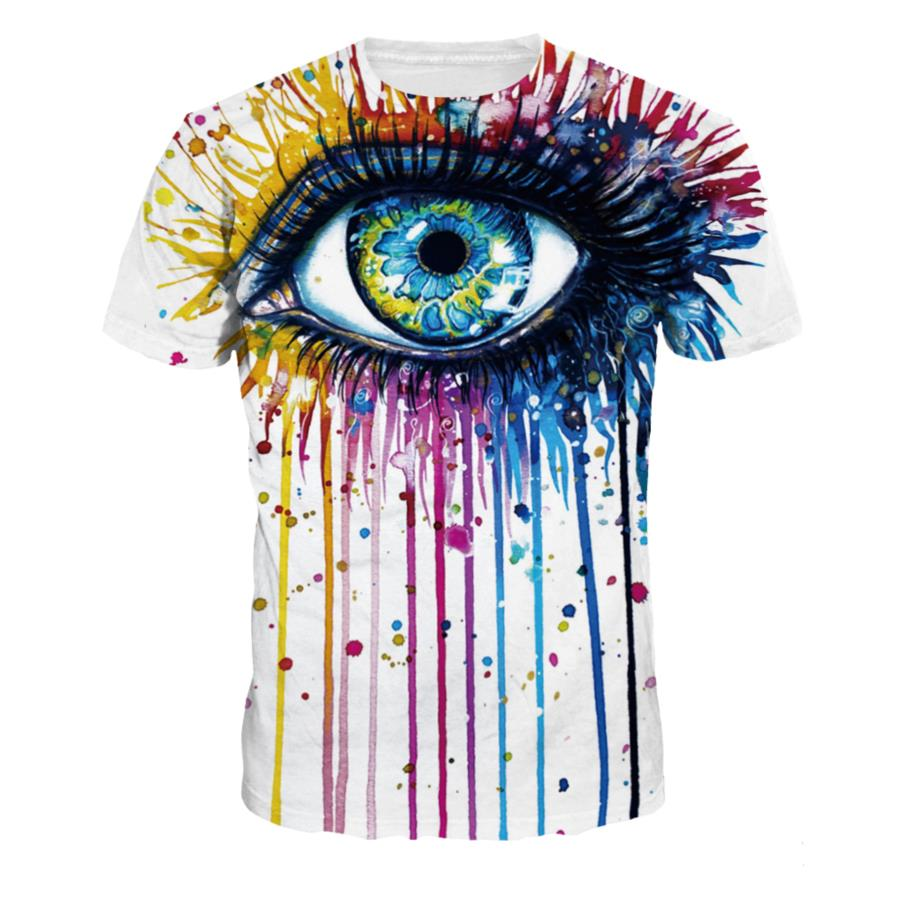 s xxl painted eye tee 3d water color print rainbow eye t shirt men women o neck t shirt tee. Black Bedroom Furniture Sets. Home Design Ideas