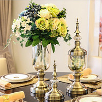 Flone Simple European Style Metal Base Glass Flowers Vase Blown process Glass Material Wedding Home Dining Table Decoration prop