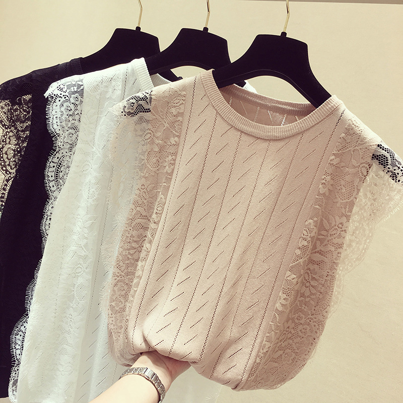 2019 new hot summer new women lace knitted thin vest female sleeveless Ice silk T-shirt INS super shirt slim   Tank     Tops