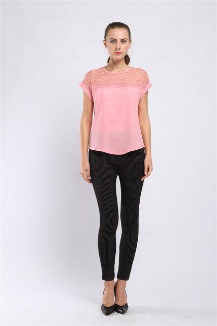 Women Blouses Lace Chiffon Blouse Blusa Feminina Tops Short Sleeve Fashion Chemise Femme Woman Shirts Plus Size 5XL Pink Blue