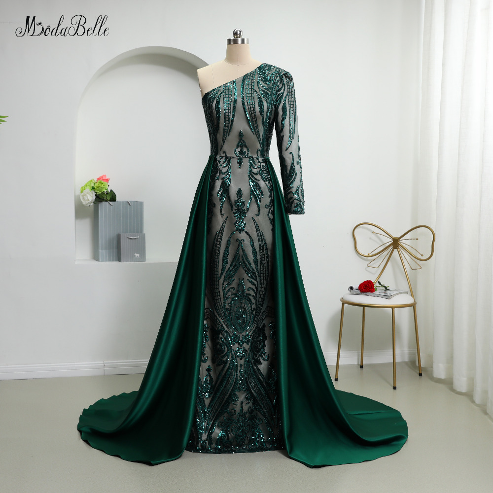 modabelle 2019 Dark Green Sequin Evening Dresses With Detachable Skirt Saudi Arabia One Shoulder Luxury Plus Size Evening Dress(China)